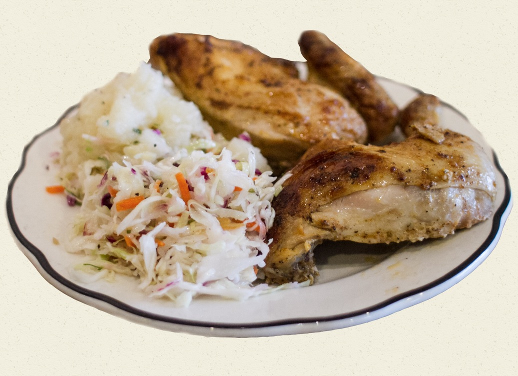 herb roasted chicken w/ coleslaw & potato salad